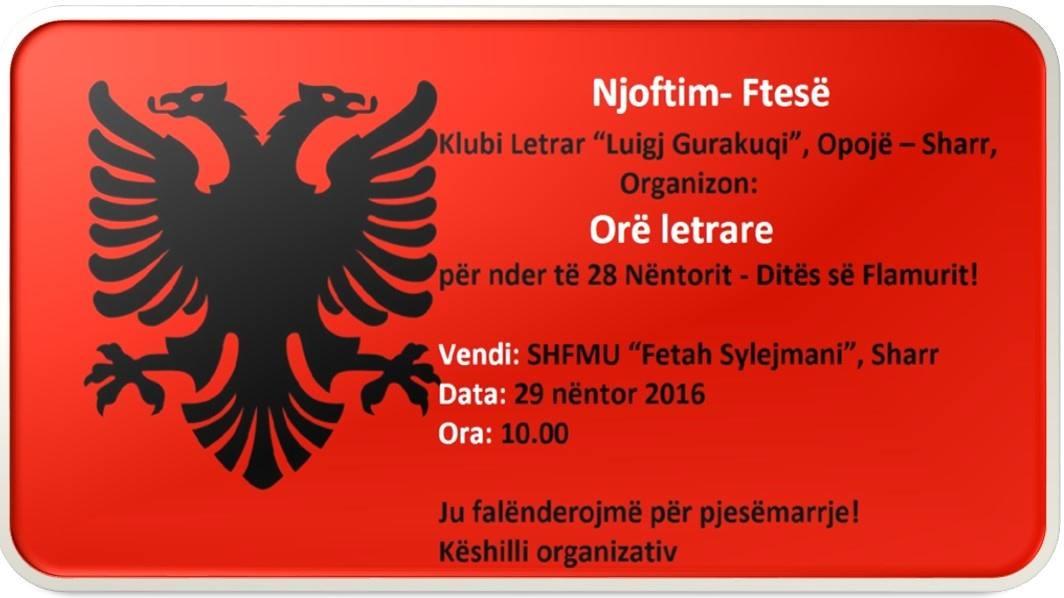 """Klubi Letrar """"Luigj Gurakuqi"""", orë letrare për nder të 28 Nëntorit – Ditës së Flamurit!"""