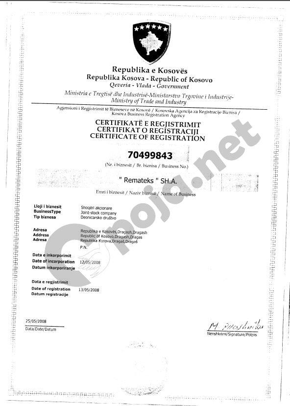 """Certifikata e Biznesit """"Remateks"""""""