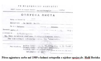 Përse agjentura serbe më 1989 e helmoi ortopedin e njohur opojar,dr. Halil Berisha