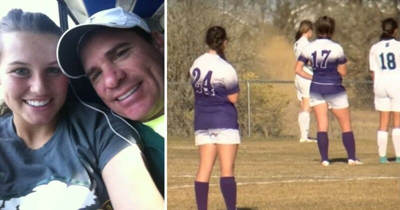 VIDEO: Girls and referee freeze during soccer game as everyone hears unmistakable sound