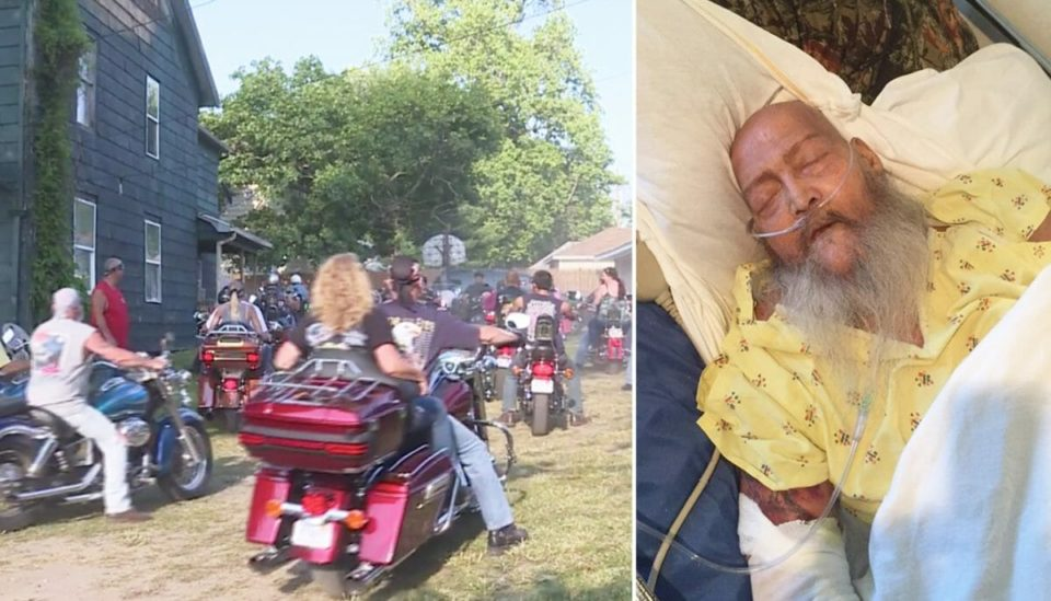 Dying veteran wished to hear Harley's roar one last time, so over 100 bikers surround his home