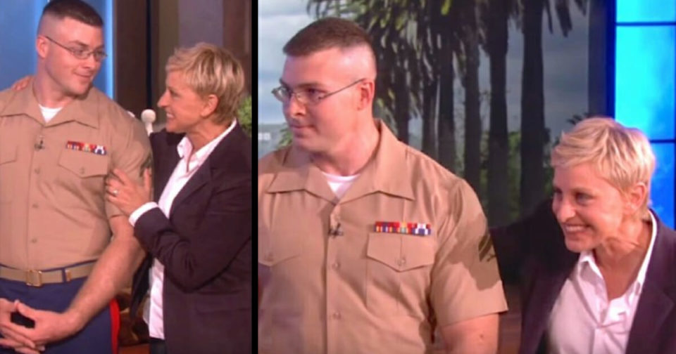 Ellen reunites Marine with his wife, but when curtain falls away she's holding baby he never met