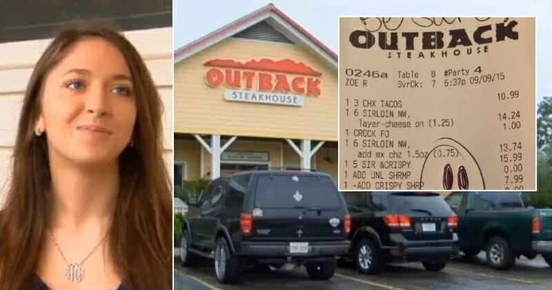 Outback workers wish nobody saw what message she wrote on cops' receipt