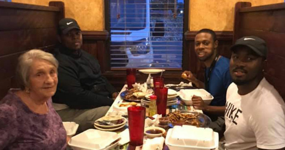 Grieving widow is dining alone before 60th anniversary when 3 men approach her table and restore her faith