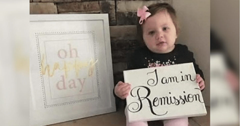Let's pay tribute to the 21-month-old girl celebrating after beating stage 4 cancer