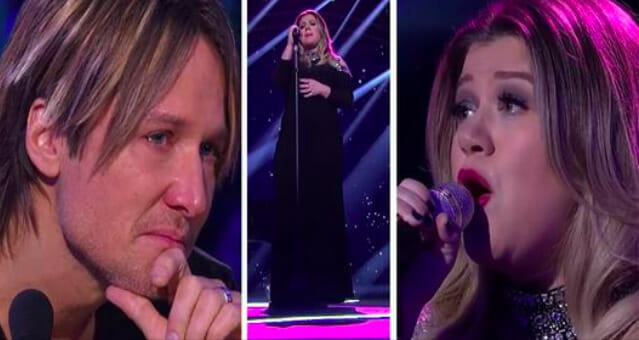 Kelly Clarkson pours her heart out in song causing Keith Urban to break down