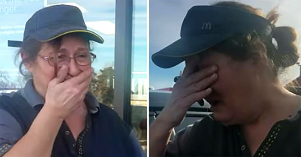 McDonald's worker lured outside by customer only to break down in tears when she realizes it's an ambush