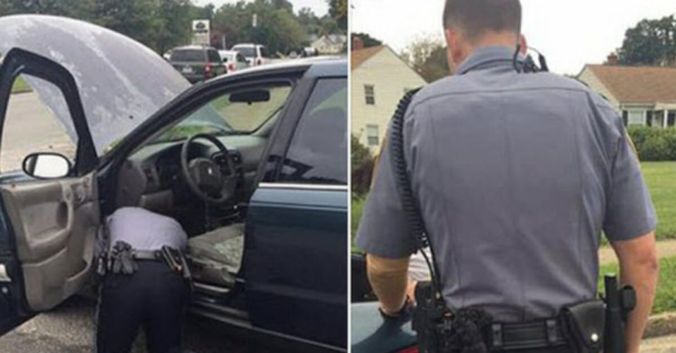 Cop tells woman to pop trunk over brake light, has no idea she's standing behind him recording his every move