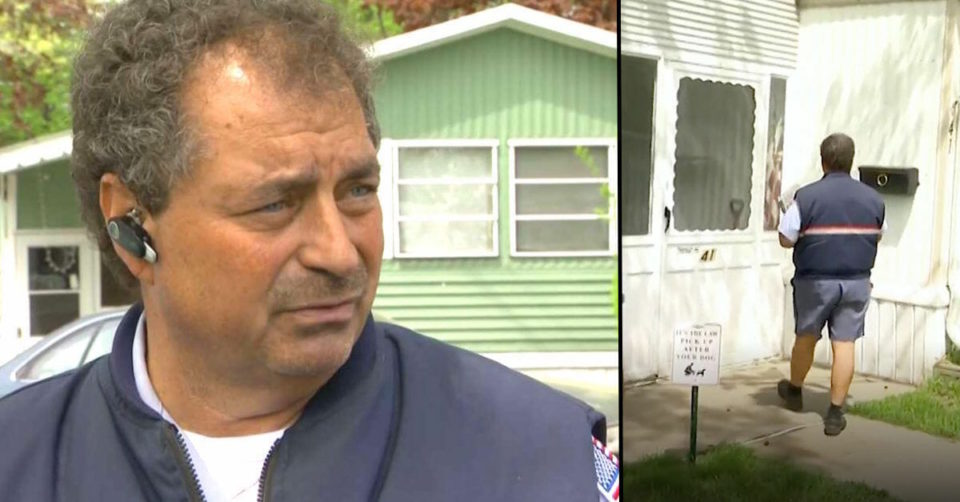 Mailman sees toddler walking alone in the street, bursts through door to find mom hunched over stroller