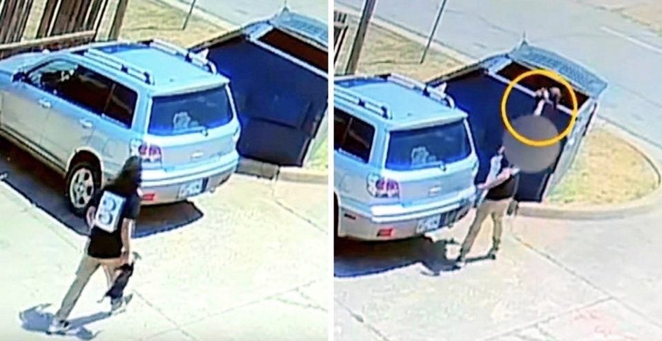 Surveillance cameras caught cruel woman swinging tiny puppy by the neck, throwing him in the dumpster
