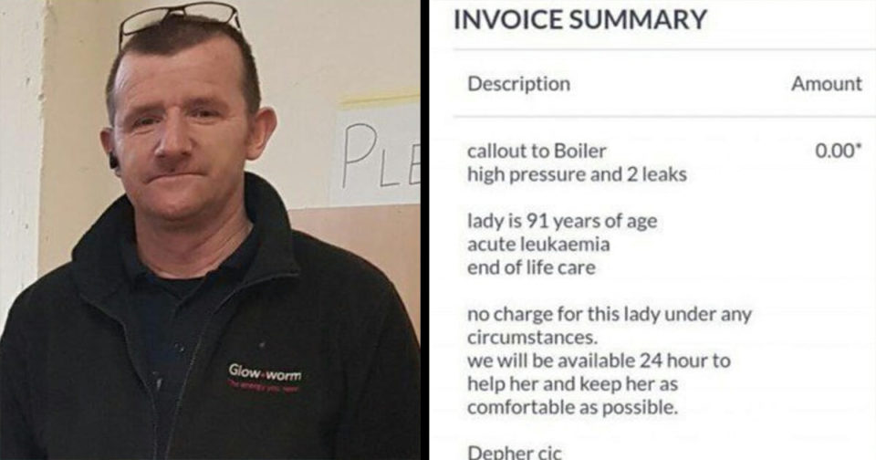 Plumber takes job at cancer-sick 91-year-old's home and his invoice is now going viral