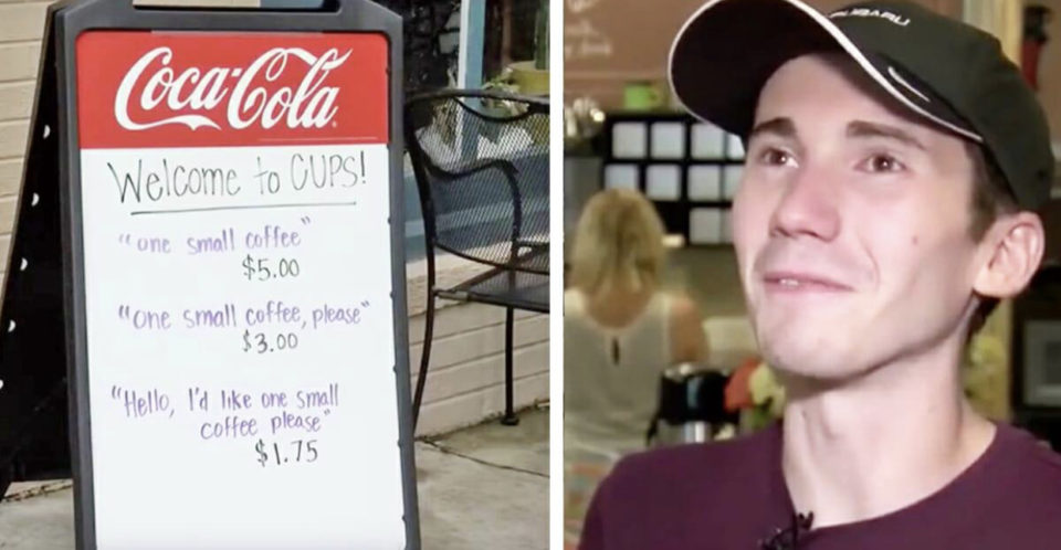Owner is sick of rude customers so he puts up a sign to show them their new 'charges'