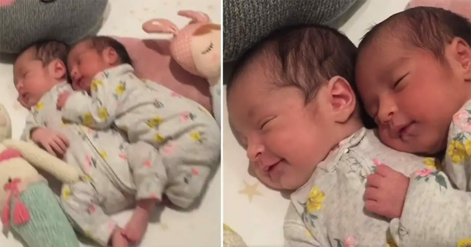 Video of newborn baby twins cuddling perfectly captures the loveliness of the twin bond