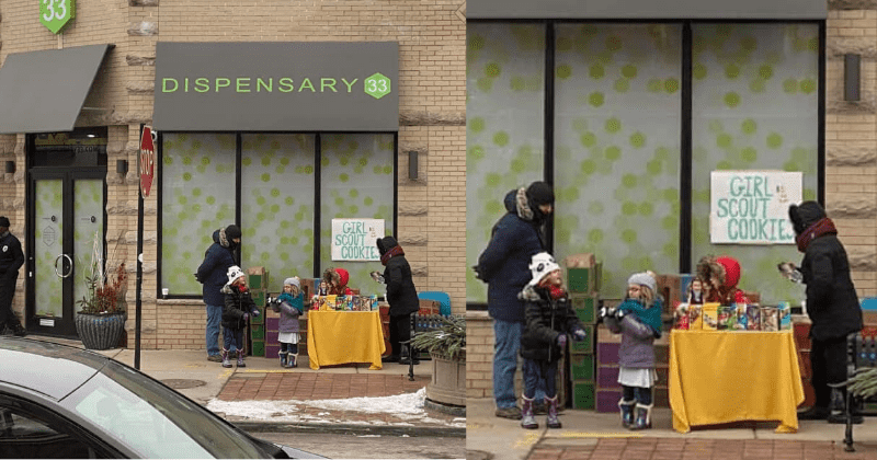 Girl Scouts set up shop right outside a weed dispensary and sell 230 boxes in just 4 hours