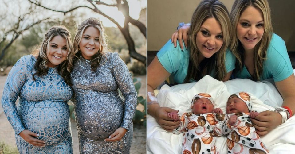 Identical twin sisters give birth on the same day at the same hospital
