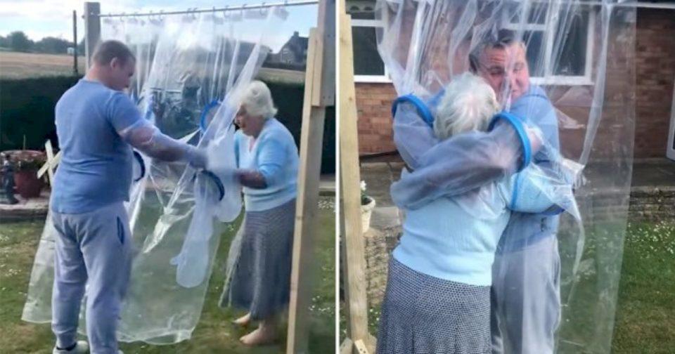 """Një person krijoi një """"mbulesë përqafimi"""" që të mund të përqafojë gjyshen e tij"""
