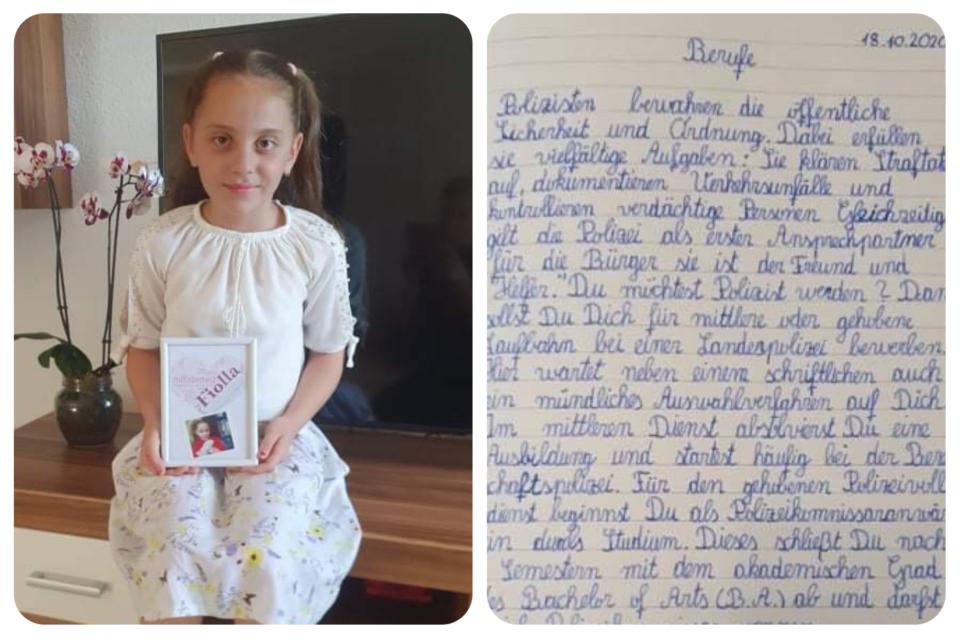 Fjolla Halimi nga Opoja, nxënëse e klasës së katërt në Gjermani, shkruan kaq bukur gjuhën gjermane